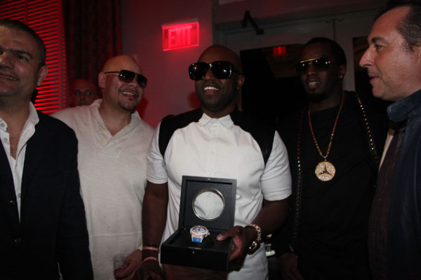 (Left to right) CEO of Hublot Ricardo Guadalupe, Fat Joe, Rico Love, & P. Diddy