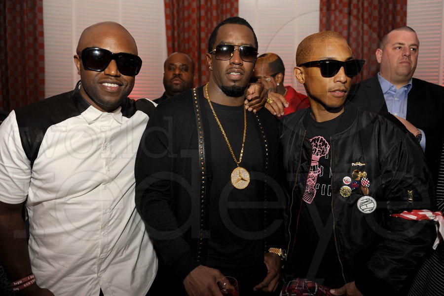 (Left to right) Rico Love, P. Diddy, & Pharell Williams